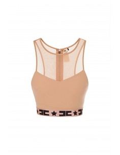 Elisabetta Franchi Crop Top with Tulle