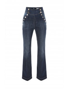 Elisabetta Franchi High Waist Bell Bottom Jeans