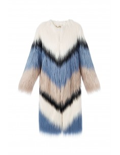 Artificial Fur Coat Multicolor - Elisabetta Franchi