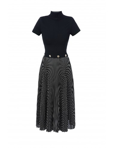 Knit fabric dress with patterned skirt - Elisabetta Franchi