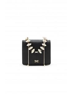 Mini bag with shoulder strap and pearl handle in Black/Gold - Elisabetta Franchi