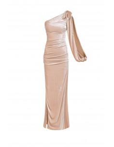 Vestido de um ombro em tecido de veludo - Elisabetta Franchi