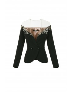 Jacket with embroideries and tulle fabric - Elisabetta Franchi