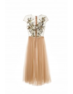 Dress in tulle fabric with embroidery and belt - Elisabetta Franchi - ab18878e2_153