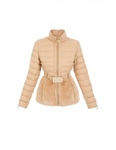 Elisabetta Franchi Quilted Coat in Skin Color