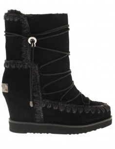Eskimo Boots with French Toe Wedge short in black - MOU