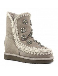 inner wedge boots smoke crystal flowers in Elephant Grey - MOU
