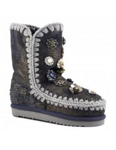 Eskimo 24 Laarzen met bloemen in gekkoblauw - MOU