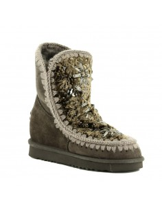 Boots Inner Wedge with Stones & Crystals with green velvet - MOU