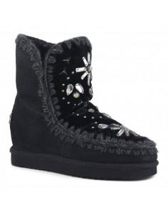 Stiefel Innenkeil mit Steinen & Kristallen mit schwarzem Samt - MOU