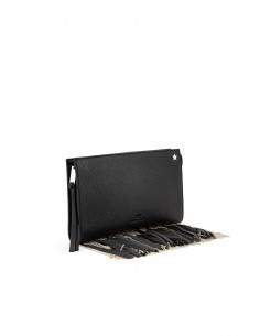 Black leather bag with fringes - Elisabetta Franchi - BS14A76E2_110