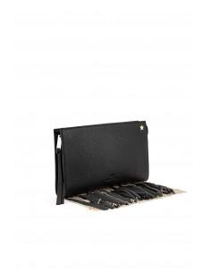 Czarna skórzana torba z frędzlami - Elisabetta Franchi - BS14A76E2_110