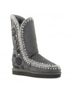 Eskimo Boots with Embroidery Tall in Color Iron - MOU