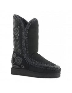 Eskimo Laarzen met geborduurd hoog in zwart - MOU