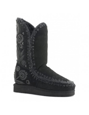 Eskimo Boots with Embroidery Tall in Black - MOU