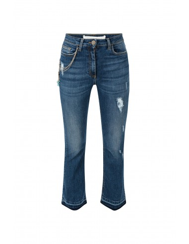 Pantalones con cadena y piedras - Elisabetta Franchi - pj25d81e2_447