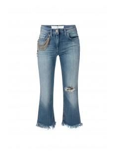 Jeans avec des franges et des chaînes - Elisabetta Franchi - pj22i81e2_192
