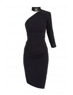 Asymmetrische jurk met één schouder in het zwart - Elisabetta Franchi - ab28582e2_110