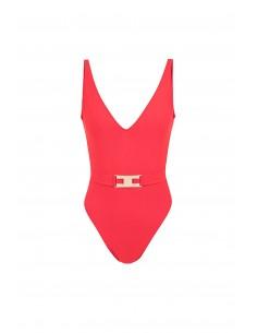 Badeanzug mit Gürtel in rot - Elisabetta Franchi - cs03b82e2_h85