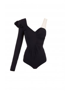 Body with ruffles in black - Elisabetta Franchi - BO09082E2_110