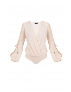 Bodysuit com blous mangas e laços - Elisabetta Franchi - BO06282E2_350