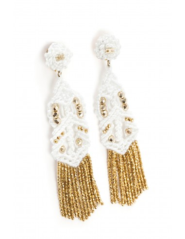 Elisabetta Franchi - Earrings with macrame in ivory - OR01F82E2_360