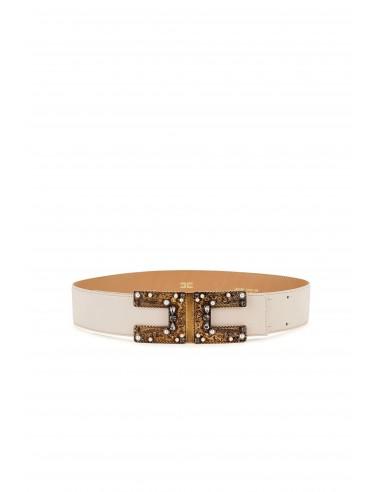 Belt in vanilla with logo - Elisabetta Franchi - CT19S83E2_135