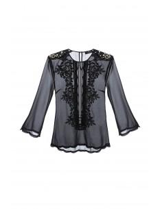 Blusa de camisa con Festons en negro - Elisabetta Franchi - CA09583E2_110