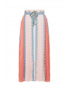 Plisowana spódnica z kokardą i kamieniem - Elisabetta Franchi - GO06582E2_P38