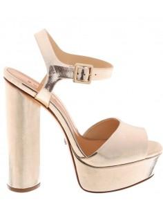 Lederen sandalen met metalen effect en platform