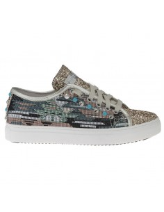 Stokton Sneakers with golden Glitter, Studs, Ethnic Fabric from the side