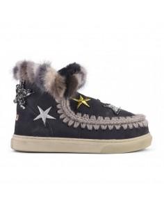 MOU Eskimo Sneaker Estrellas y Visón en Negro - eskisneptcf-ofblk