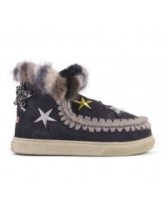 MOU Eskimo Sneaker Stars and Mink in Black - eskisneptcf-ofblk