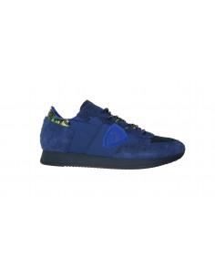 Sneaker PHILIPPE MODEL in Blau mit mehrfarbigen Schuhbändern - A18ITRLUIX04