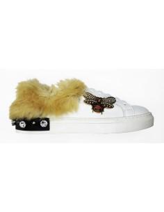 Sneaker Giove Paris con pelo y chinche de cristal - G2043L