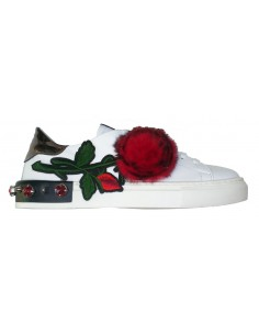 Sneaker Giove in white Leather with red Rose  - G2043C