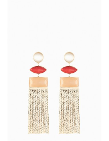 Elisabetta Franchi hanging earrings with fringes - OR77B88E2