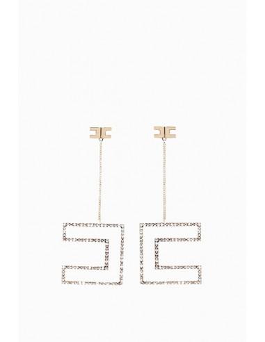 Boucles d'oreilles suspendues Elisabetta Franchi avec CC-Logo - OR83L86E2