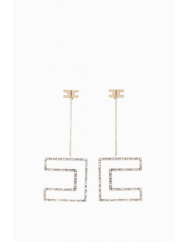 Elisabetta Franchi hanging earrings with CC-Logo - OR83L86E2