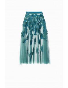 Embroidered tulle skirt - Elisabetta Franchi - GR06J87E2
