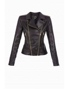 Leather jacket with zipper - Elisabetta Franchi - GD03P86E2