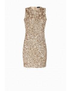 Mini sukienka z grzywką - Elisabetta Franchi - AR11J87E2