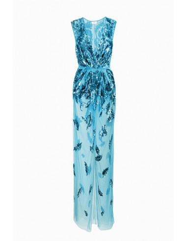 Vestido longo com bordado - Elisabetta Franchi - AR10J87E2