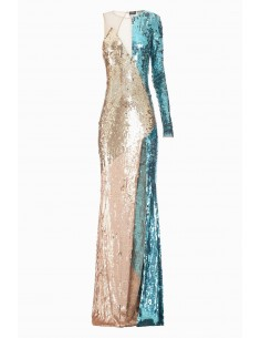 One shouldered dress with embroidery - Elisabetta Franchi - AR04J87E2