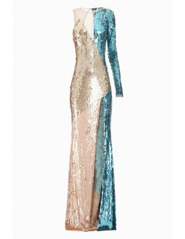 Un vestido con hombros y bordado - Elisabetta Franchi - AR04J87E2