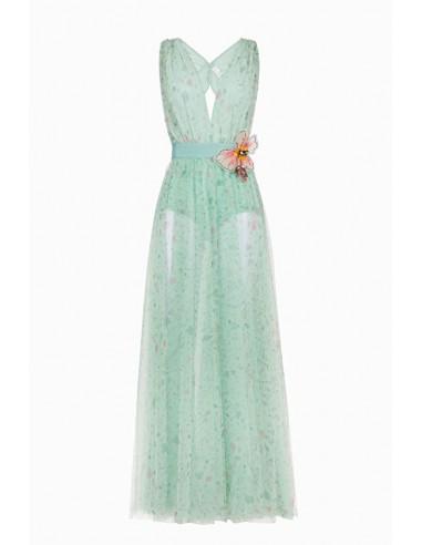 Vestido comprido com estampa de flores - Elisabetta Franchi - AB67691E2
