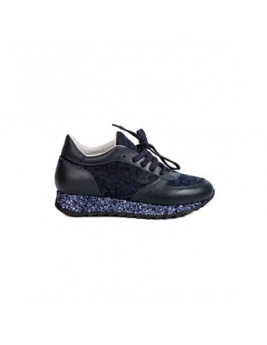 Sapatilhas Stokton em Azul com Renda