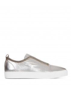Buty skórzane srebrne z łańcuchem - Stokton