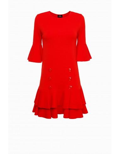 Vestido curto com furbelows - Elisabetta Franchi - AM03S91E2