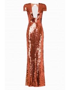Długa sukienka z haftem - Elisabetta Franchi - AR14M92E2